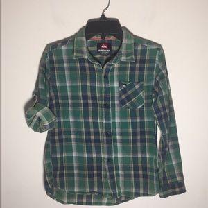 Quicksilver Shirt Plaid Button Up Flannel Kids 7